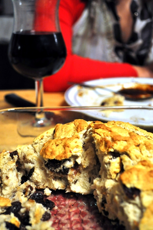 Irish soda bread paired with red wine
